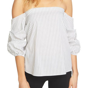 1.State Striped Off The Shoulder Cotton Top White